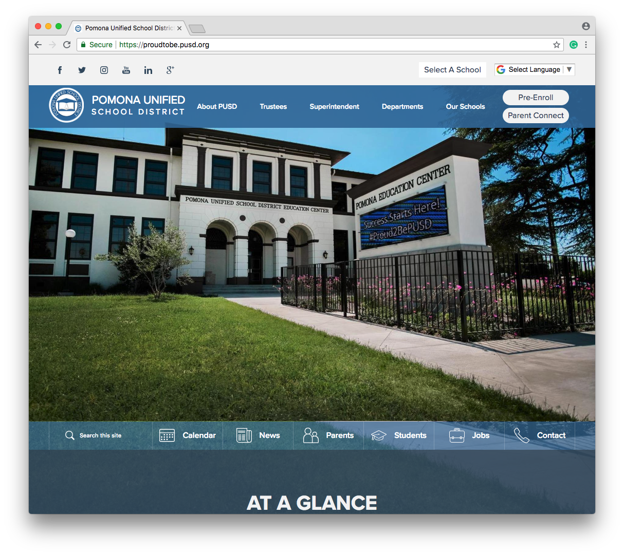 pomona unified school district is this weeks featured school website design they came to us seeking a custom design that emphasizes their schools motto