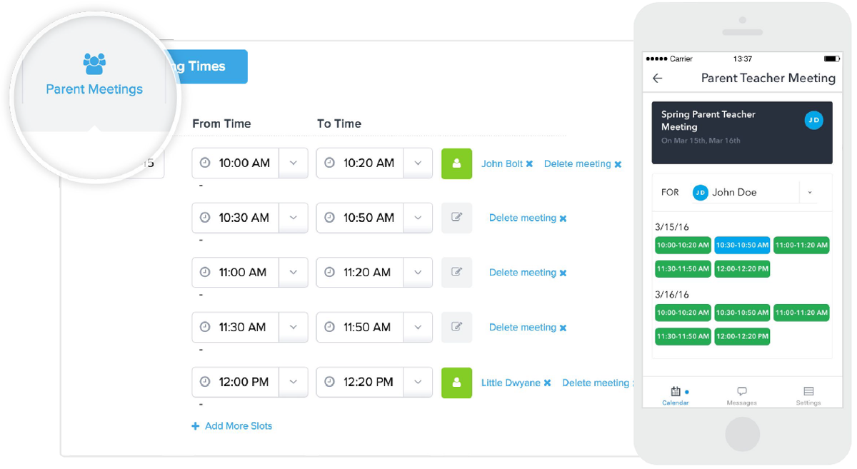Parent meetings interface lets parents reserve time slots right on their phone